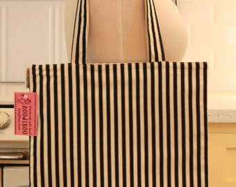Book Bag Tote Purse - Black and Ivory Stripe