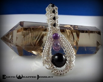 Amethyst & Onyx Sterling Silver Wire Wrapped Pendant