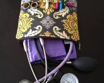 nursing purse / AnyCase - stethoscope organization case - in gray & yellow (for nurses, teachers, kids, w/pockets for tools)