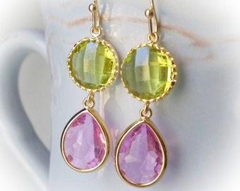Lavender Amethyst & Peridot Green drop earrings faceted glass fancy dangle earrings gold plated jewelry earrings for women rose pink purple