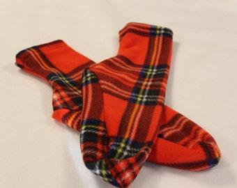 Men's Polar Fleece Socks or Slippers Red Plaid