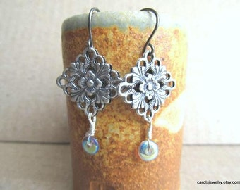 Filigree Antique Silver Earrings Diamond Shape with  Hypo-allergenic Ear Wires Niobium