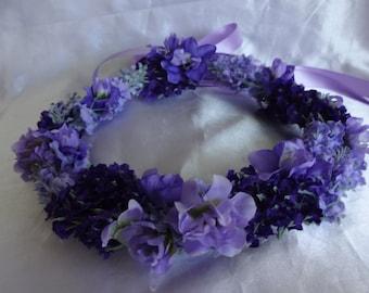 Bridal Hair Flower Girl Flower Crown Wedding Hair Purple  Violet Coachella Floral Headpiece