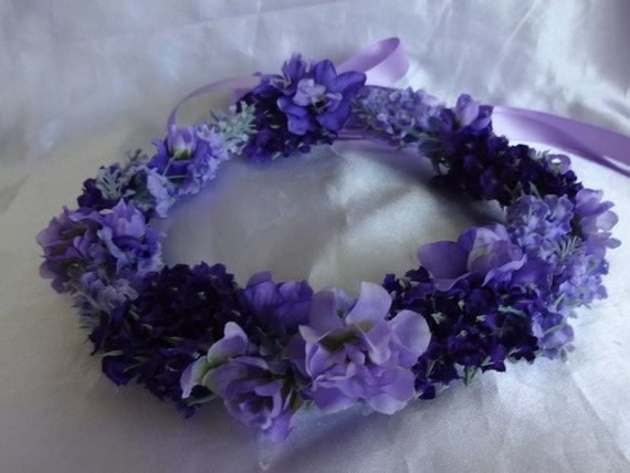 Bridal Hair Flower Girl Flower Crown Wedding Hair Purple  Violet Coachella Floral Headpiece