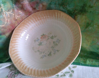 Old Floral Bowl with Peachy Rippled Edges