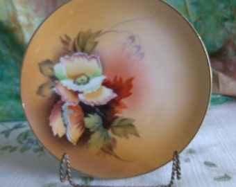 Meito China Flower on Golden Yellow Hand Painted Side Plate