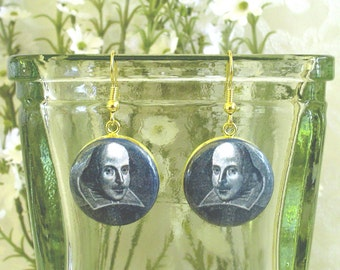 William Shakespeare Altered Art Earrings