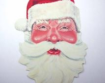 Vintage NOS Christmas Mask or Die Cut Santa Face Beard and Stocking Cap