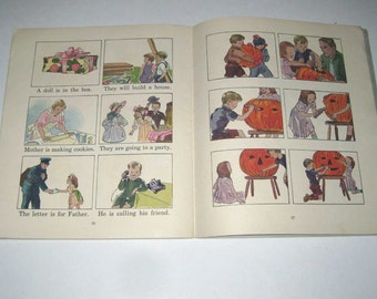 All Aboard Vintage 1940s Children's School Workbook Includes Halloween