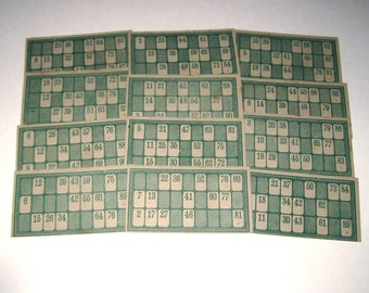 Vintage Green Lotto Game Cards with Numbers Set of 12