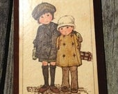 Vintage Art Print on Wood Block