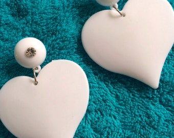 WHITE HEART solid  valentines oversized earring post stud dangle shinny  pure rave  lovers love barbie doll dress up costume  funky cool