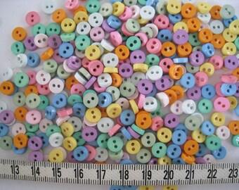 100 pcs of tiny button 6.5 mm -  Pastel Pink Blue Purple Beige Orange Mint Yellow