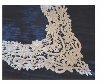 On Sale - FLOWERS and FLOURISHES - Schiffli Cotton Lace Bodice and Collar Piece