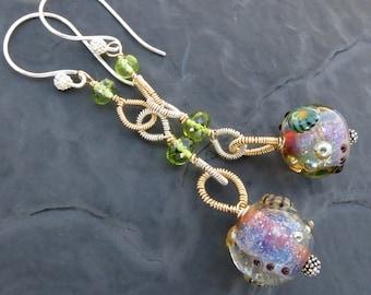Artisan boro glass bead earrings - 14k gold fill - peridot - gemstone jewelry - long beaded dangle earrings - cosmic galaxy - mixed metals