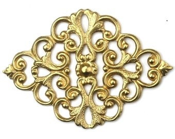 Stampings Filigree Diamond with Scrolls Raw Brass 43x30mm (1) FI663