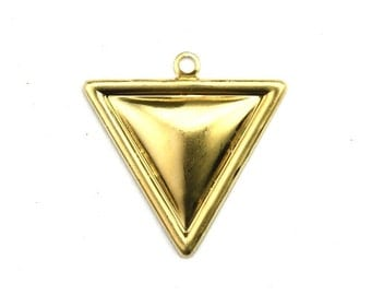 Rolled Edge Triangle Charm or Pendant Raw Brass (4) CP239