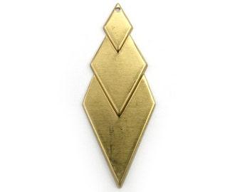 Diamond Layered Drop Charm Pendant Raw Brass (4) CP253