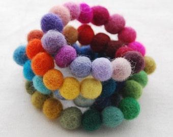 1cm - 100% Wool Felt Balls - 60 Count - Assorted Colors