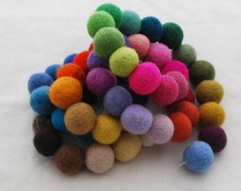 100% Wool Felt Balls - 2cm - 60 Count - Assorted Colors