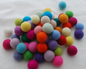 100% Wool Felt Balls - 3cm - 100 Count - Assorted Light and Bright Colors
