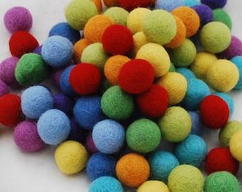 100% Wool Felt Balls - 1.5cm - 100 Count - Rainbow Colors
