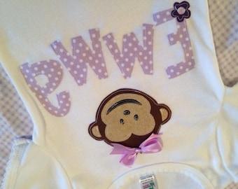 NEW Personalized Monkey Applique Shirt 12m 18m 2T 3T 4T 5T 6 8 10 or Bodysuit
