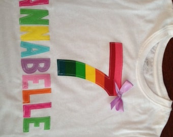 Personalized Rainbow Birthday Shirt for Girl or Boy Name and Number
