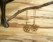 Chrysanthemum Earrings, Brass Earrings, Kidney Ear Wire