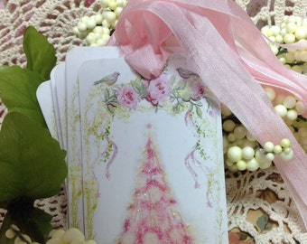 Set of 6 Cottage Style Pink Glittered Christmas Tree Gift Tags