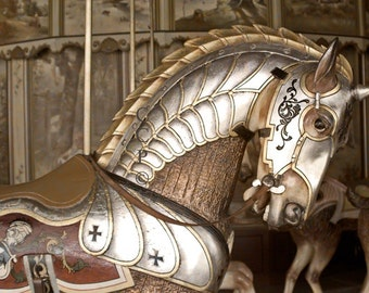 Carousel Horse, Horse Photograph, Knights Steed ,Armored Horse, Templar Decor, Crusader Print, Sepia Brown, Childrens Room, Fine Art Print