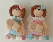 Girl with Band Aid Bandages Polymer Clay Charm Bead Scrapbooking Bow Center