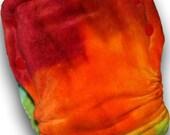 Green Lightning Rainbow - M/L Organic Bamboo Velour AI2 Cloth Diaper