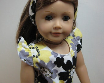 18 inch Doll Clothes  Flutter Sleeve Yellow, Black, Grey by Nayasdesigns