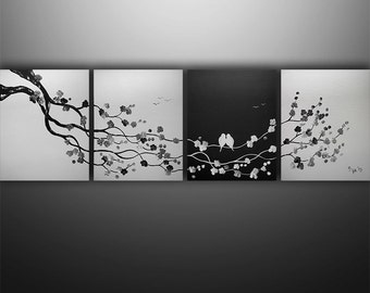 Birds Painting, Landscape Painting, Tree Painting, Wall Art, Wall Decor, Abstract Painting, Black White,  Large painting, Made To Order