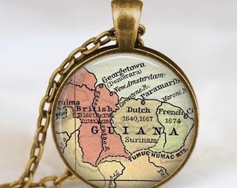 Guiana map  necklace,  Guiana South America map pendant ,  Guiana glass dome pendant,map jewelry