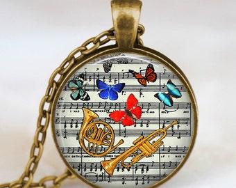 Trumpet necklace , vintage trumpet jewelry , golden trumpet pendant , music notes necklace, handmade jewelry  pendant, trumpet player gift
