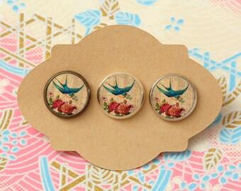 10 pcs handmade blue bird with flowers - earrings, pendant, ring - 12mm (PW-010)