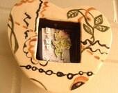 wall heart box wall hanging ceramics ivory brown green black keepsake