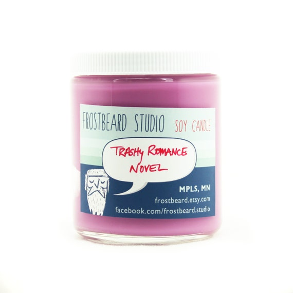Trashy Romance Novel -- Book Lovers' Scented Soy Candle      -- 8oz jar