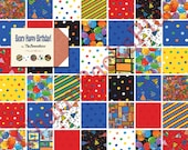 BEARY HAPPY BIRTHDAY - Moda Fabric Charm Pack - Five Inch Quilt Squares Quilting Material Blocks