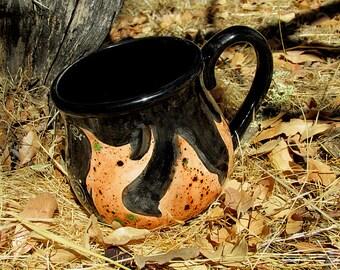 Flames mug cauldron mug kiln fired pottery ceramic mug coffee tea brew orange black