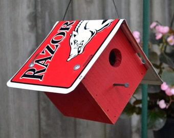Arkansas Razorback Birdhouse - Rustic Birdhouse - Razorbacks
