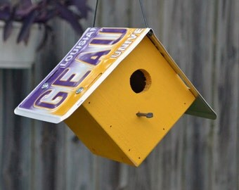 Rustic Birdhouse - LSU Birdhouse - LSU Tigers - License Plate - License Plate Birdhouse - Louisiana State