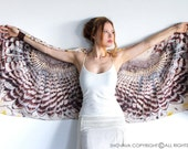 Day Owl art scarf, light version, Hand painted Owl Wings, stunning unique and useful, perfect gift