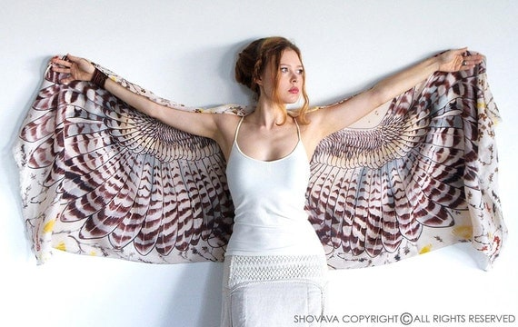 Day Owl art COTTON scarf, light version, Hand painted Owl Wings, stunning unique and useful, perfect gift