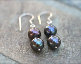 Purple Freshwater Pearl Sterling Silver Handmade Earrings, Pearl Jewelry, Amethyst Gemstone, June Birthstone Earrings