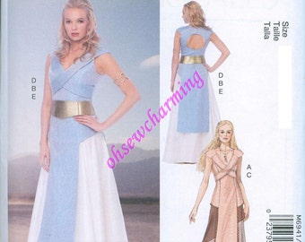 Game of Thrones Inspired Dress Sewing Pattern McCalls 6941 UNCUT Sizes 12-14-6-18-20 Gown Daenerys Blue Tan