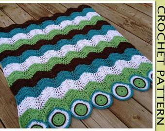PDF Crochet Pattern - The Circle & Waves Blanket
