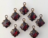 Garnet Faceted Square Glass Stones 1 Loop Brass Ox Setting 6mm (8) squ014MM